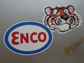 "Enco Oval & Tigers Head Shaped Sticker. 8""."