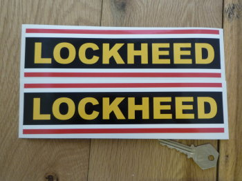 "Lockheed Striped Oblong Stickers. 6"" or 8"" Pair."