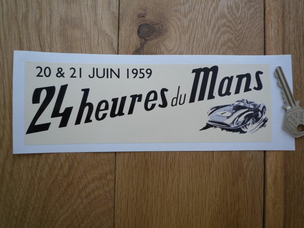 """24 Heures Du Mans 1959 LeMans Le Mans Oblong Sticker. 8""""."""