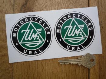 "IMZ-Ural Sidecar Motorcycle Circular Stickers. 2.75"" Pair."