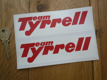 "Team Tyrrell Red & White Oblong Stickers. 6"" Pair."