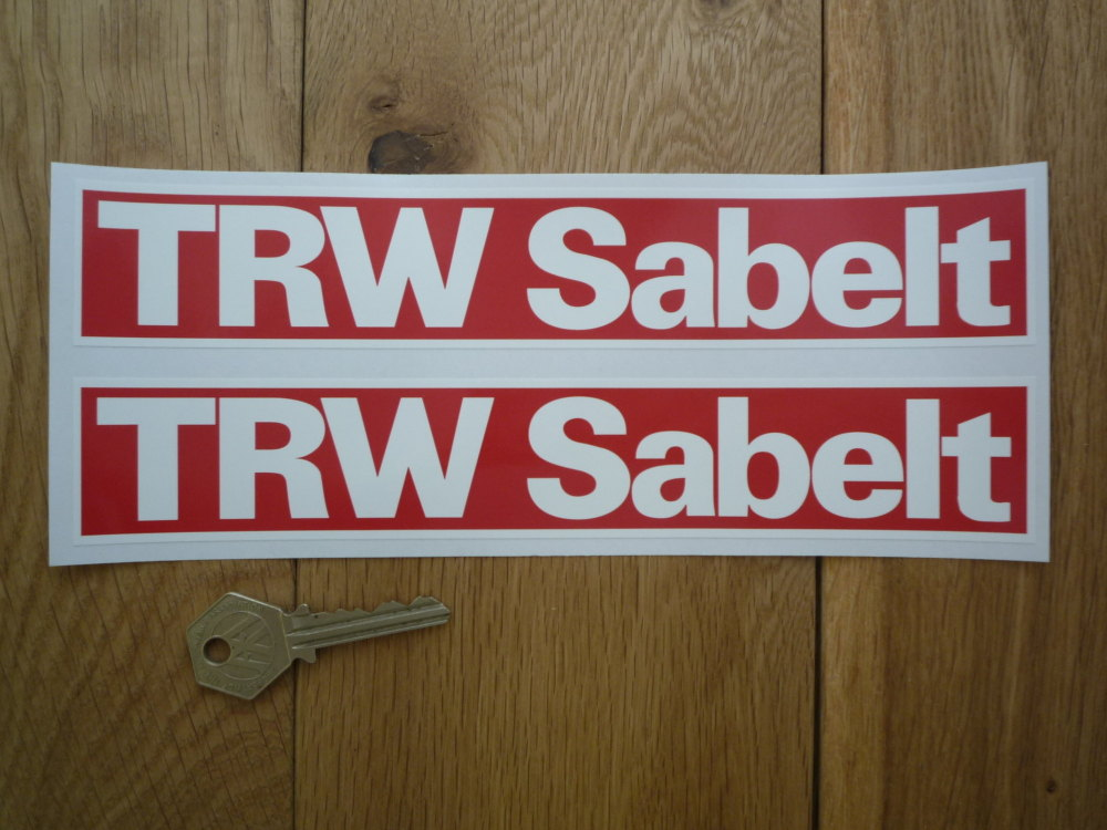 """TRW Sabelt Red & White Oblong Stickers. 9"""" Pair."""