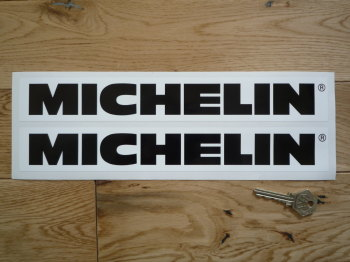 "Michelin Horizontal Black & White Stickers. 12"" Pair."