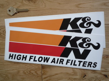 "K&N High Flow Air Filters Oblong Stickers. 3.5"" or 11"" Pair."