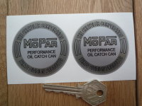 Mopar Performance Oil Catch Can Grey & Silver Chrysler Stickers. 2.25