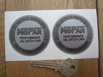 "Mopar Performance Oil Catch Can Grey & Silver Chrysler Stickers. 2.25"" Pair."