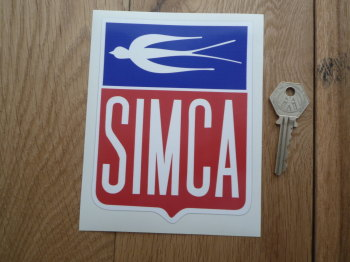 "Simca Old Style Shield Sticker. 4"" x 5.5""."