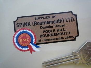 """BMC Spink (Bournemouth) Ltd. Dealers Sticker. 2.75""""."""