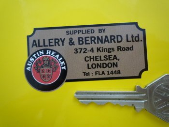 "Austin Healey Allery & Bernard Ltd Chelsea London Dealers Sticker. 2.75""."