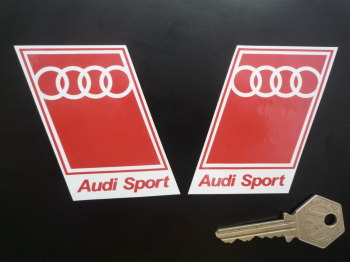 "Audi Sport Text at Bottom Style Handed Parallelogram Stickers. 2"" Pair."