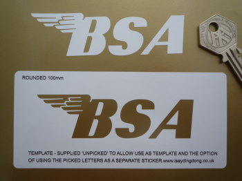 """BSA Stencil Style Rounded Text Style Sticker. 4"""" or 6""""."""