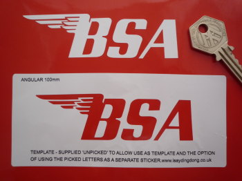 "BSA Stencil Style Angular Text Style Sticker. 4"" or 6""."