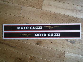 "Moto Guzzi Fairing/Tank Stripe Text & Gold Eagle Handed Stickers. Style 2. 23"" Pair."