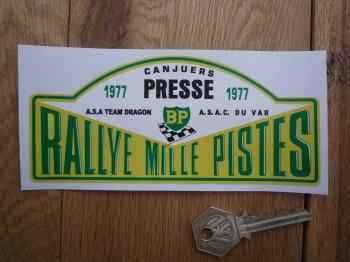 "Rallye Mille Pistes BP 1977 Presse Rally Plate Sticker. 6""."