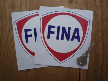 "Fina Red Shield with Blue Coachline Stickers. 5"" Pair."