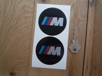 BMW 'M' Style Black Background Circular Stickers. 68mm Pair.