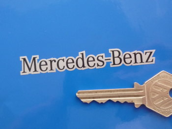 "Mercedes Benz Black & Silver Text Style Stickers. 3"" Pair."