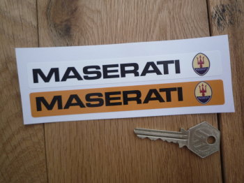 """Maserati Number Plate Dealer Logo Cover Stickers. 5.5"""" Pair."""