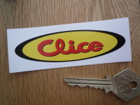 "Clice Clothing Yellow, Red, & Black, Oval Sticker. 3.5""."
