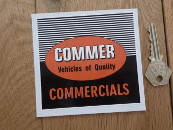 "Commer Vehicles of Quality Commercials Square Sticker. 4""."