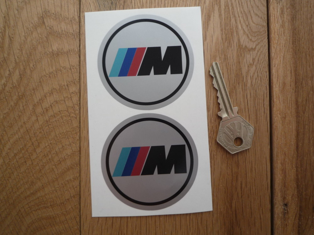 BMW 'M' Style Silver Background Circular Stickers. 65mm, 70mm, or 75mm Pair.