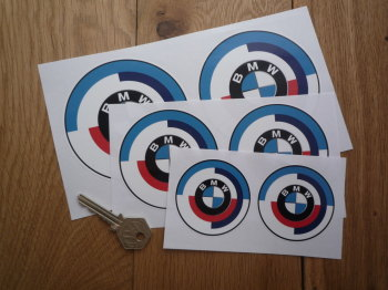 BMW Gunsight Roundel with Black Coachline & Blue Detail Stickers. Various Sizes. Pair.