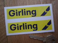 "Girling Yellow & Blue Break Style 1 Oblong Stickers. 4"" or 5"" Pair."