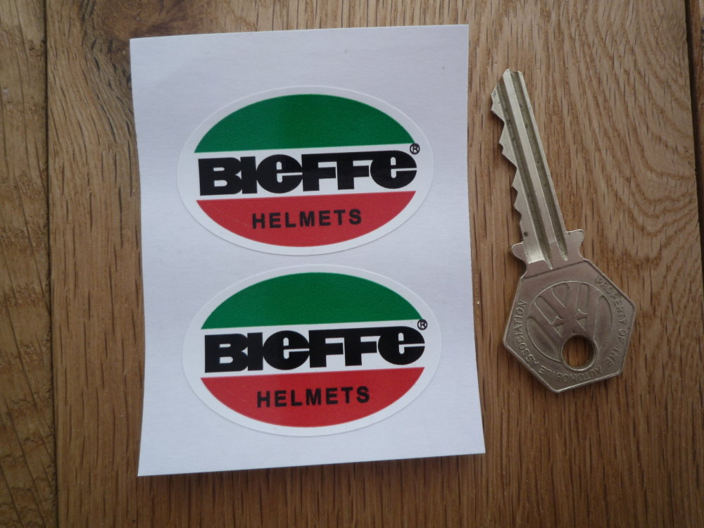"Bieffe Helmets Green, Red, Black, & White, Oval Stickers. 2"" Pair."