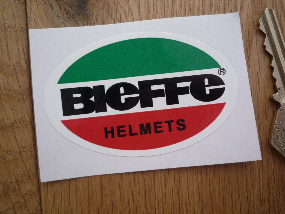 "Bieffe Helmets Green, Red, Black, & White, Oval Sticker. 3""."