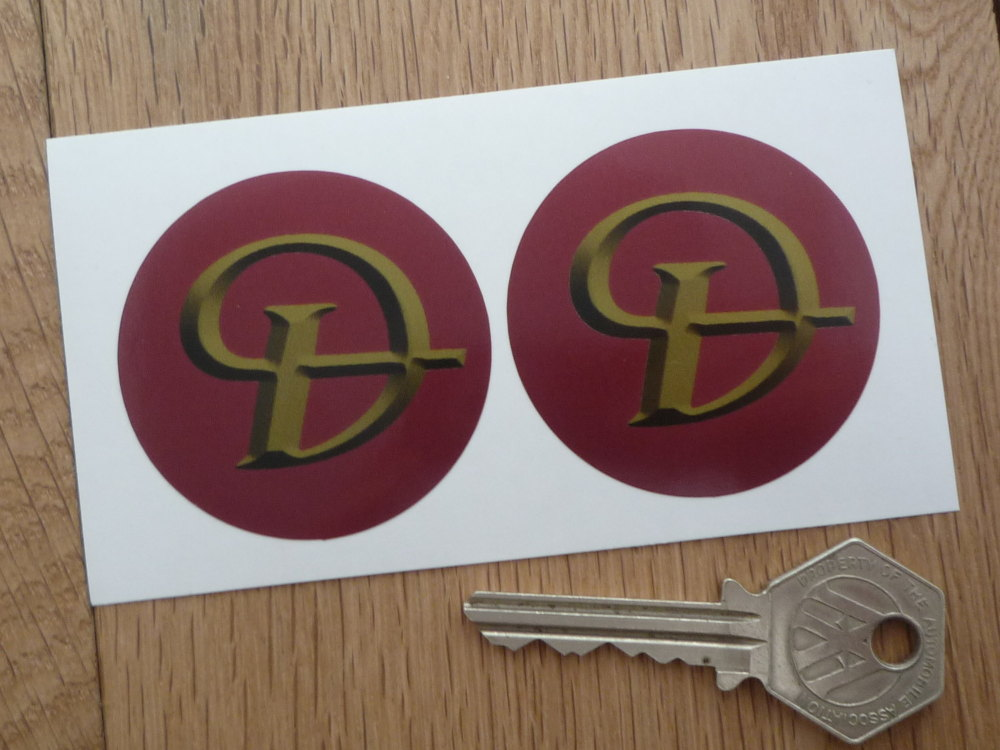 Daimler Red & Gold Shaded Style Wheel Centre Stickers. 50mm Pair.