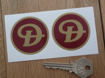 Daimler Red & Gold Plain Style Wheel Centre Stickers. 50mm Pair.