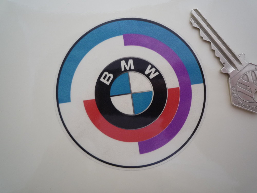 BMW Gunsight Style Roundel on Clear with Black Coachline Stickers. 80mm Pai