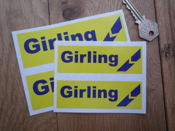 "Girling Yellow & Blue Break Style 2 Oblong Stickers. 4"" or 5"" Pair."