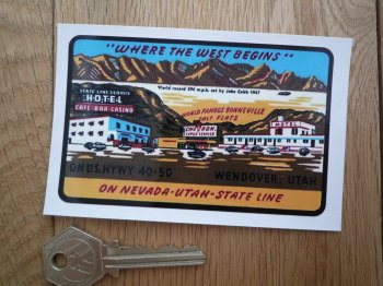 "Bonneville Salt Flats 'Where The West Begins' Sticker. 4""."