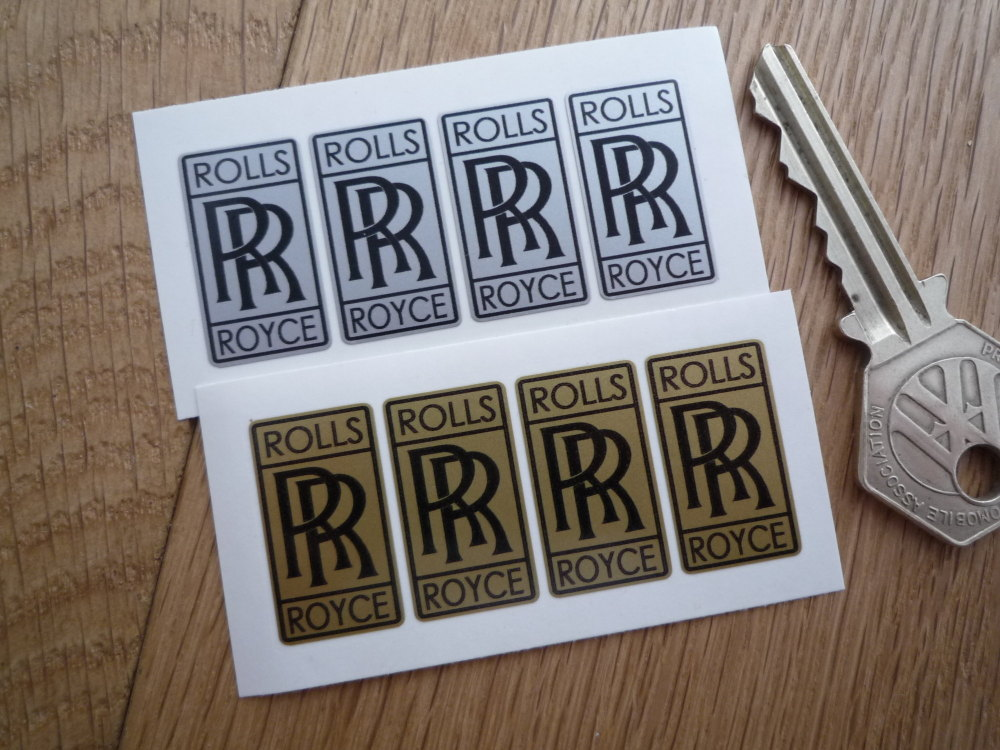 Rolls Royce 'RR' Tall Oblong Stickers. Set of 4. 1