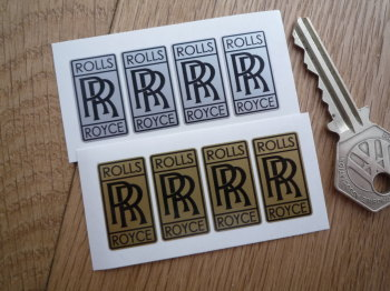 "Rolls Royce 'RR' Tall Oblong Stickers. Set of 4. 1""."