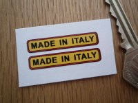 Made in Italy. Yellow, Red, & Black Oblong Stickers. 1.5