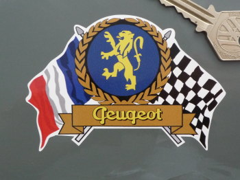 "Peugeot Flag & Scroll Sticker. 4""."