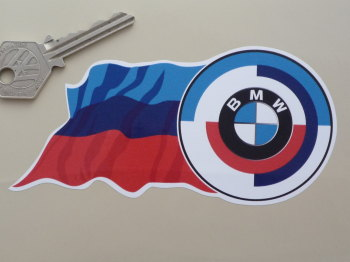 "BMW Motorsport Gunsight & Wavy Flag Blue Style Stickers. 5"" Pair."