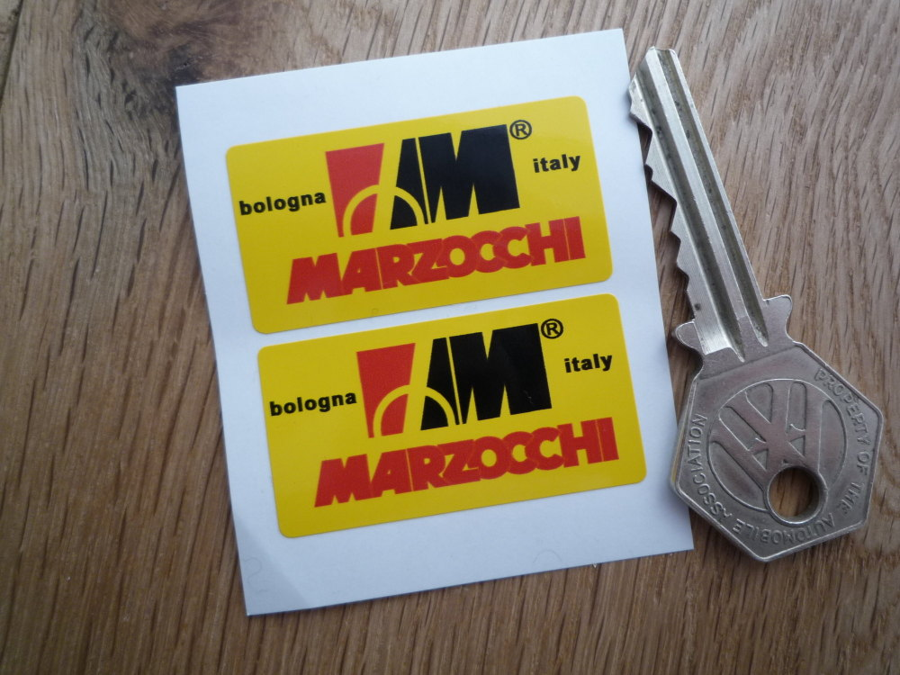 """Marzocchi Bologna Italy Yellow Background Stickers. 1.75"""" Pair."""