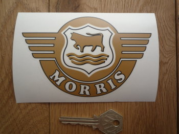 "Morris Winged Logo Shaped Window Sticker. 5""."