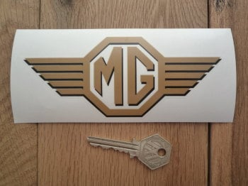 "MG Straked Wings Logo Shaped Window Sticker. 6""."