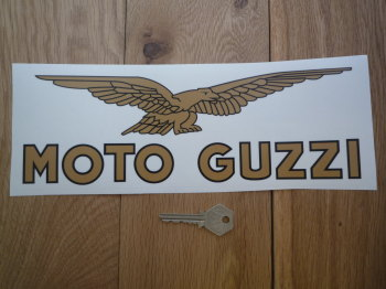 "Moto Guzzi Eagle & Text Style Window Sticker. 6"" or 11""."