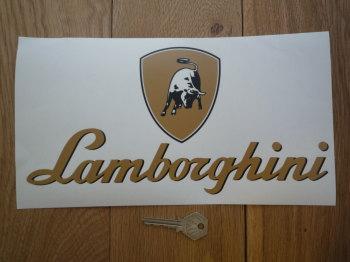 "Lamborghini Text & Logo Style Window Sticker. 11""."