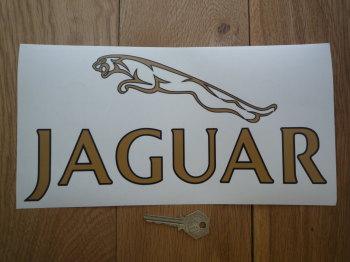 """Jaguar Text & Leaper Logo Style Window Sticker. 11""""."""