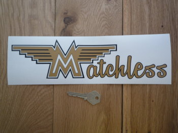 "Matchless Winged Text Shaped Window Sticker. 11""."
