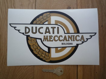 "Ducati Meccanica Bologna Shaped Window Sticker. 10""."