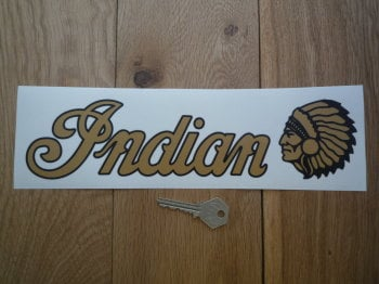 "Indian Text & Chief's Head Style Window Sticker. 11""."