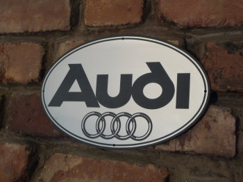 "Audi Hoops Style Oval Garage Workshop Wall Plaque Sign. 11.5""."