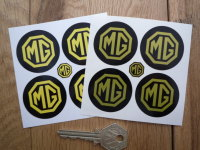 MG Wheel Centre Style Stickers. Yellow & Black. Set of 4. 40mm.